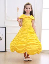 2019 belle kostüme kinder 2019 neue mädchen belle kostüm gelbes kleid cosplay sommer schönheit und biest party zoll besondere gelegenheit kleider kinder ostern halloween tuch rabatt belle kostüme kinder