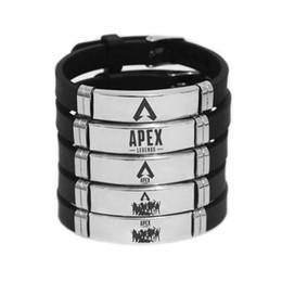 2019 ventilador de aço inoxidável Apex Legends Pulseira de Silicone Pulseira de Aço Inoxidável Ajustável Fãs de Jogo Quente Homens Lembrança Moda Pulseiras Presentes Nova Moda APEX ventilador de aço inoxidável barato