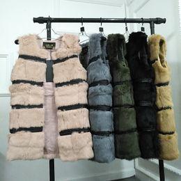 La moda del chaleco de conejo online-Medio largo natural de piel de conejo chaleco mujer moda de invierno Real chalecos de piel mujer abrigos de piel cálidos chalecos femeninos para el invierno