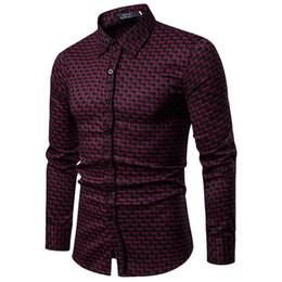 Marca 2019 Moda Hombre Camisa de manga larga Tops rayas rojas para hombre camisas de vestir Slim Men Shirt S-xxl desde fabricantes