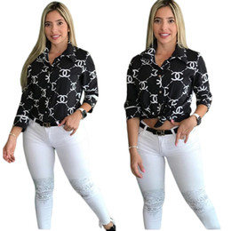 2019 broche de manga comprida Fashion Clothing Women's Sexy letter Print Simple Button Down Long Sleeve Collar Loose T-Shirt Blouse Tops cw60976