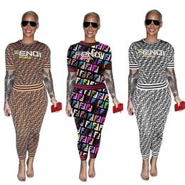Trajes de impresión online-Las mujeres del verano F Carta Chándal Trajes de manga corta Impreso camiseta camiseta Pantalones Leggings 2 piezas Traje de ropa deportiva Street Set AAA2220