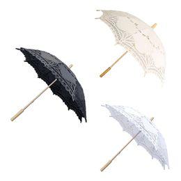 favores de la rosa azul Rebajas Paraguas de encaje de boda romántica marfil blanco negro arte hecho a mano parasol borde de vieira bordado boda accesorios de fotografía