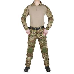 Максимальная одежда онлайн-Тактический Камуфляж Униформа Одежда Костюм Мужчины Армия США Multicam Боевая Рубашка + Брюки-Карго Локоть Наколенники