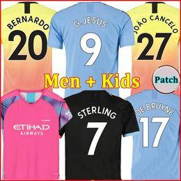 Camisetas de portero de fútbol niños online-Tailandia RODRIGO 19 20 MANCHESTER CITY camiseta de fútbol G.JESUS DE BRUYNE KUN AGUERO camisetas 2019 2020 camiseta de fútbol KIT camiseta de KIT de adultos y niños Portero