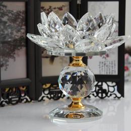 Большие свечи онлайн-Кристаллический Стеклянный Блок Цветок Лотоса Металл Подсвечники Фен-Шуй Home Decor Большой Tealight Подсвечник Подставка Подсвечники
