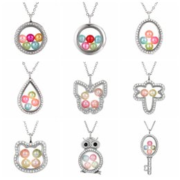 Pendentif perle flottante en Ligne-Elephant Owl Woman Necklace Living Memory Beads Glass Floating Locket Pendant Necklace Pearl Cage Locket Charms Gift TTA1187