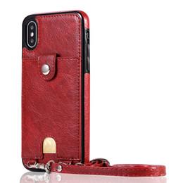 Nota billetera casos de correa online-Para Samsung S10 S9 S8 S7 Plus Edge Note 9 8 Ranura para tarjeta Soporte Protección extrema Estuche de billetera de moda de lujo con correa de mano