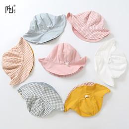 Chapeau de bébé réglable en Ligne-enfants chapeaux de marque casquettes snapback Eté Enfants Coton Chapeau de seau double face Chapeau de pêcheur pour bébé Chapeau élastique de bassin réglable Visière pour bébé