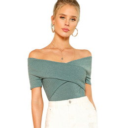 Elegante t-shirts online-Green Wrap Design Top Office Damen Schulterfrei Kurzarm Sexy T-Shirt Damen Sommer Klar Schlank Elegant T-Shirt