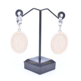Cabochão oval oscila madeira brinco configurações de base caber 18x25mm cabochon diy brincos de aço inoxidável ganchos fecho bandejas para fazer jóias cheap oval earrings base de Fornecedores de base de brincos oval
