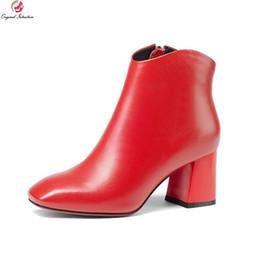 хорошая новая обувь Скидка Оригинальные Намерения Новые Моды для Женщин Ботильоны Хорошие Квадратные Toe Квадратные Каблуки Сапоги Стильные Черные Красные Туфли Женщина США Размер 3-10.5