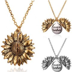 diseños de medallón de oro para las mujeres Rebajas Collar de Oro girasol nuevo Diseño Usted es mi sol mejores amigos Mejor perras Valentín del collar antiguo pendiente del Locket de la Mujer