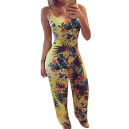 9fa356e806 Laamei Casual Flower Print Strap Ruffles Playsuit Backless Rompers Women  High Waist 2019 Summer Beach Long Pants Jumpsuit Outfit