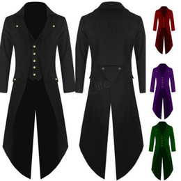 2019 colas de abrigo Hombres Chaquetas de esmoquin Tail Coat Steampunk Gothic Performance Uniforms Cosplay Party Clothes swallow tailed coat Blazer Oversize LJJA2876 colas de abrigo baratos