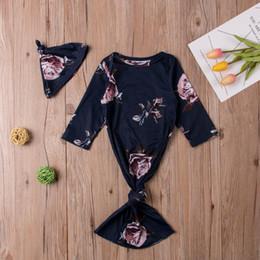 baumwolle bedruckte taschen für mädchen Rabatt Kleinkind Baby Mädchen Kleidung Langarm Rundhals Blumenmuster Schlafsack Geometrie Hut Kinder Baumwolle schöne Outfits 3-6M
