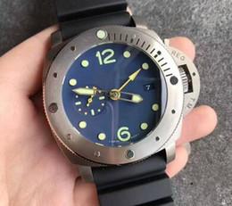 Relógios mens baratos on-line-Atacado qualidade baixo preço elevado luxo Automatic homens mecânicos do relógio de marcação azul data borracha luminosa 47 milímetros Homens Moda inoxidável relógio de pulso
