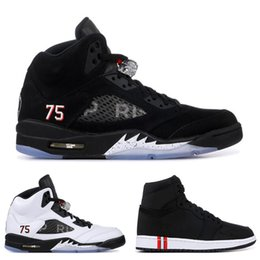 brand new 9515d 49623 Nike Air Jordan Retro 5 5s Neue Ankunft 5 5 s Herren Basketball Schuhe  INTERNATIONAL FLIGHT Flug Anzug White Cement Black Grape Männer Trainer  Sport Sneaker ...