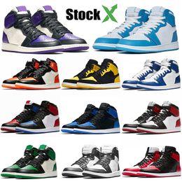 2020 баскетбольные туфли размер 15 Оптовая 2020 OG 1 Баскетбольной обувь 1S Сосна Зеленый Черного Toe Atin Разрушенного Backboard Чикаго Royal Blue Бред Дизайнер кроссовки размера 5.5-13 дешево баскетбольные туфли размер 15