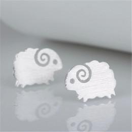 Jóias de ovelhas on-line-Orelhas de Animais Do Parafuso Prisioneiro Jóias Finas Meninas Crianças Presente de Dia Dos Namorados Pendientes Lindo estilo de Prata Ovinos Brincos