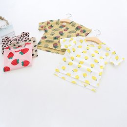 Argentina Ropa de diseñador para niños, niñas, camisa, verano, manga corta, piña, fresa, camiseta de verano, niña con cuello redondo, 100% camiseta de algodón, 5 colores. supplier strawberry shirts Suministro