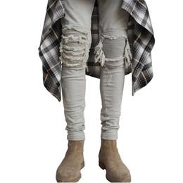 hip hop meio lavagem jeans Desconto Skinny Jeans Men rasgado Branco Preto Magro estiramento Buraco afligido dos homens do motociclista Jeans Médio Wash Streetwear Hip Hop Calças Jogger