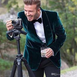 smoking vert décontracté Promotion 2018 style décontracté vert velours hommes costumes châle revers un bouton blazer smokings mariage manteau sur mesure (veste + pantalon)