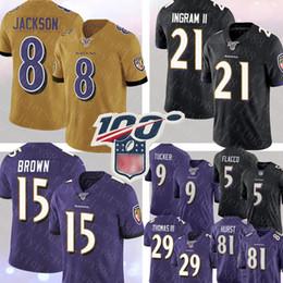 2019 marca jérsei Baltimore Ravens # 8 Lamar Jackson Jersey 15 Marquise Brown 21 Mark Ingram ll Jersey 9 Justin Tucker 29 Earl Thomas Hayden Hurst Jerseys marca jérsei barato