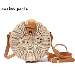 sacs en toile de paille Promotion Sacs de plage en osier circulaire en rotin de paille Boho Bali été sacs à main bandoulière pour femmes 2018 marque sac à bandoulière ronde