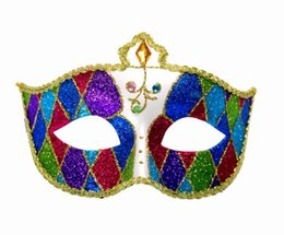 mardi gras party masquerade dress Promo Codes - Women's Men's Masquerade Mask Gorgeous Venetian Muscial Mardi Gras Ball Fancy Costume Party Eyemask Fancy Dress Costumes props