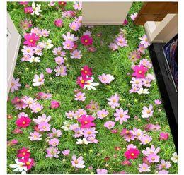 Canada Personnalisé photo 3D auto-adhésif imperméable à l'eau de peinture de mur de papier peint HD fleurs étage plancher 3D salle de bains salon plancher autocollants cheap adhesive flowers bathroom Offre