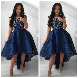 dress low straps back Promo Codes - Elegant Sheer Short Sleeves High Low Prom Dresses Lace Appliques Hi-Lo Special Occasion Party Gowns Pleated Lace Formal Evening Party Gowns
