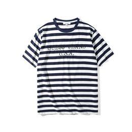 Usa kleidung online-Hot Womens Designer T-shirts USA Jeans Luxus Tops Kurzarm Stickerei Streifen Shirts Mens Casual Kleidung Frauen Lose Tees