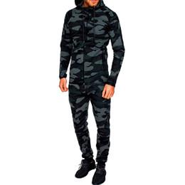 Pantalon pour hommes en Ligne-Litthing Mens Deux Pièces Ensembles Camo Hoodies Imprimés Pull Survêtement Survêtement Survêtement Costume Automne Homme Camouflage Top Pantalon Ensemble