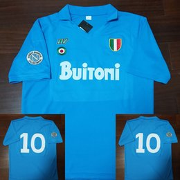 87 jersey online-Retro Soccer Jersey Football Shirts 87 88 Coppa Italia SSC Napoli Maradona # 10 Vintage Calcio MAGLIA Retro Soccer Jersey 1987 1988 Napoli Classic Vintage Football Camisetas