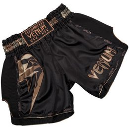 Tronchi di mma online-MMA Shorts Mens Boxe boxe kickboxing Fightwear MMA Kick Boxe Fight Trunks Top New Black Tiger Muay Thai abbigliamento boxe