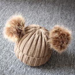 Девочка вязание шляпы берет онлайн-Зима Новорожденного Малыш Мальчик в девочке Теплого Knit Beanie Hat Fur Pom Берет крючок Хемминг Cap двойного Плюшевый Бал Прекрасного малыш Cap