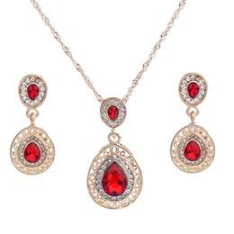 Ensemble de bijoux de mariée pour femmes bijoux de luxe cristal autrichien pendentif collier boucles d'oreilles pendantes argent plaqué goutte d'eau Ensemble de bijoux de mariage ? partir de fabricateur
