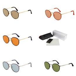 espejo redondo enmarcado Rebajas Gafas de sol de metal con espejo Pequeño Marco Redondo Gafas de sol Diseñador Lentes de lujo Modernas Marcas Canotaje Sombras des lunettes de soleil 3475