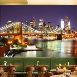 new york schlafzimmer tapete Rabatt Gewohnheit 3D-Wand Tapete New York City Nacht Moderne Esszimmer Wohnzimmer Schlafzimmer Wohnkultur der Tapeten-3D Rollen Landschaft