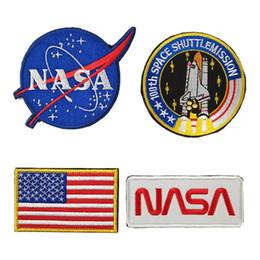 Parches de banderas tácticas online-Equipo táctico de moda Insignia de brazalete Cinta mágica Bandera americana Logotipo de la NASA Bordado Cinta mágica Parche Pegatinas