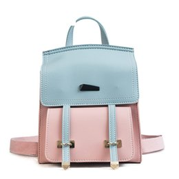 2019 mochilas circulares Costura Hit Color Ladies Mochila Moda de alta calidad Simple College Wind Bag Casual Wild Travel Mochila pequeña mochilas circulares baratos