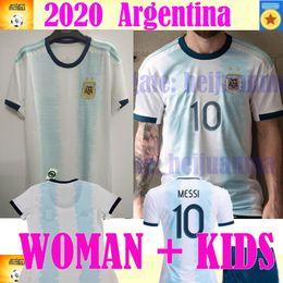 Messi kids jersey argentine en Ligne-2020 Argentine femme enfants maillot de football copa america 19 20 saison MESSI DYBALA HIGUAIN ICARDI