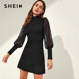f734b3959e SHEIN Black Mesh Sleeve Mock-neck Frill Shoulder Keyhole Back Ribbed Knit Tunic  Dress Women Autumn Office Ladies Slim Dresses