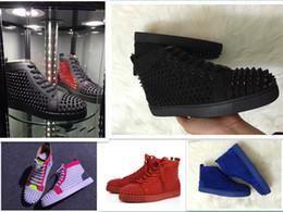 chaussures cloutées pour femmes Promotion Designer de mode marque clouté crampons Flats chaussures bas rouge chaussures pour hommes femmes parti en cuir baskets 36-47