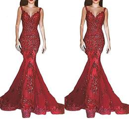 Vestes vermelhas baratas on-line-New Barato Borgonha Vermelho Vestidos de Baile Rendas Applique Cintas de Espaguete Lace Applique Vestido de Festa À Noite Vestido Formal robe de mariage BM0645