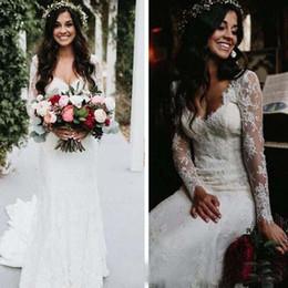 Vestido de casamento de manga cheia de comprimento sexy on-line-Vestidos de casamento do país do laço completo do vintage com mangas compridas sexy v pescoço até o chão lace sereia vestidos de noiva