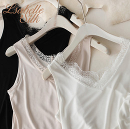 lace undershirts Promo Codes - Summer Natural silk plus size lace modis underwear women tops tank top women undershirt debardeur femme white top sleeveless