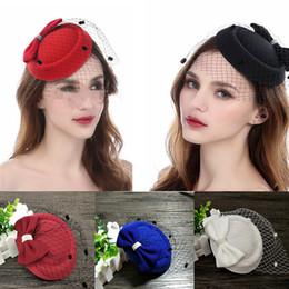 Vintage mujeres blanco negro rojo Kentucky Derby Fascinator sombreros 10 colores boda nupcial iglesia arco barato Sinamany sombreros nupcial accesorios desde fabricantes