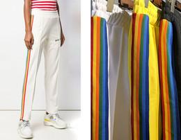 Tipi pantaloni uomo online-Il popolare logo europeo ed americano PALM ANGELS Rainbow Webbed Pantaloni Leisure Sport Pantaloni da uomo e da donna Designer Fit Type